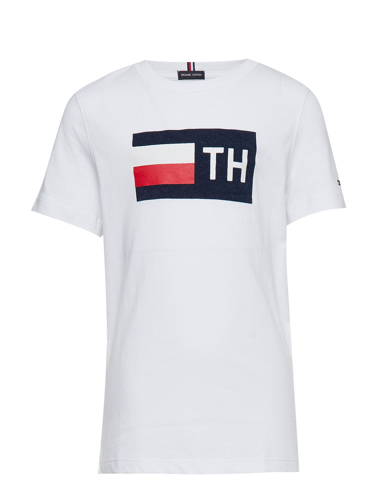 Tommy Hilfiger FLOCK TEE S/S - BRIGHT WHITE