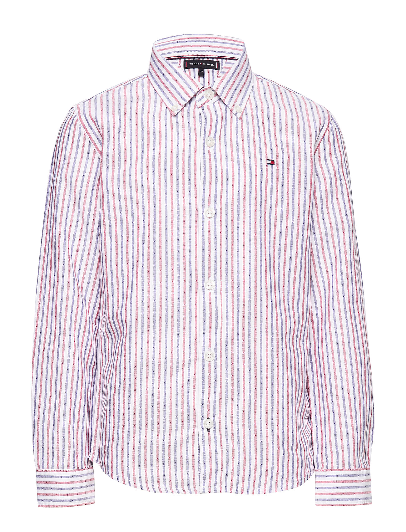 Tommy Hilfiger DOBBY STRIPE SHIRT L - WHITE STRIPE 02/RACING RED