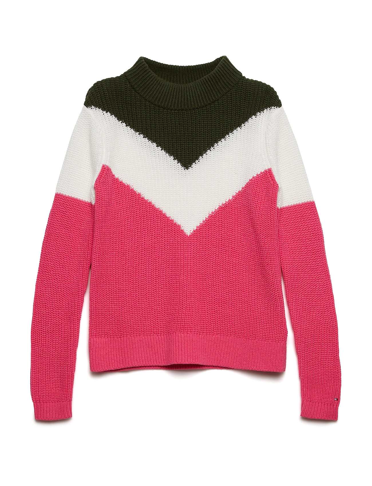 Tommy Hilfiger CHEVRON COLOR BLOCK SWEATER - PINK FLAMBE/MULTI