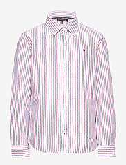 Tommy Hilfiger - DOBBY STRIPE SHIRT L - shirts - white stripe 02/racing red - 0