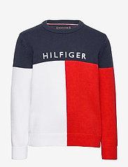 Tommy Hilfiger - HILFIGER COLORBLOCK SWEATER - sweatshirts - twilight navy - 0