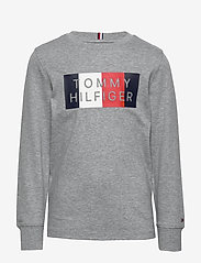Tommy Hilfiger - GLOBAL STRIPE GRAPHIC TEE L/S - sweatshirts - mid grey htr - 0