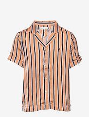 Tommy Hilfiger - RESORT STRIPE SHIRT S/S - shirts - melon orange/ twilight navy - 0