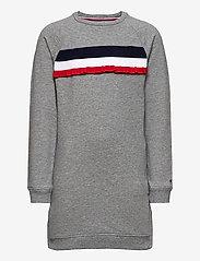 Tommy Hilfiger - RUFFLE RIB SWEAT DRESS L/S - dresses - mid grey htr - 0