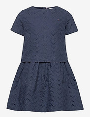 BRODERIE ANGLAISE DRESS S/S - TWILIGHT NAVY