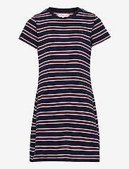 Tommy Hilfiger - STRIPE RIB DRESS S/S - kleider - white / navy stripes - 0
