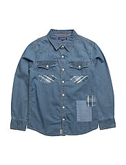 D PATCH DENIM SHIRT L/S - BLUE