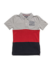 AME COLORBLOCK POLO S/S - GREY HEATHER