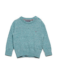 ESSENTIAL KIDS CREW NECK SWEATER - GREEN-BLUE SLATE