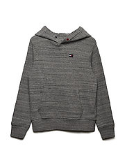 ESSENTIAL MINI WAFFLE HOODED L/S - MID GREY HEATHER