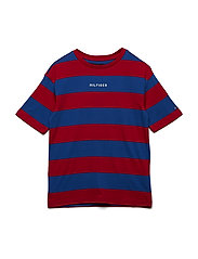 BOXY RUGBY STRIPE KNIT S/S - APPLE RED/OLYMPIAN BLUE