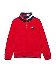 POLAR FLEECE MOCK SWEATSHIRT - APPLE RED