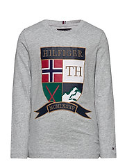EMBROIDERED SHIELD T - GREY HEATHER