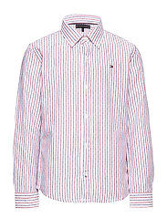 DOBBY STRIPE SHIRT L - WHITE STRIPE 02/RACING RED