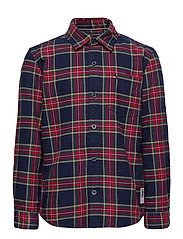 OXFORD  CHECK SHIRT L/S - BLUE CHECK/DEEP CRIMSON