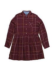 WINDOWPANE CHECK SHIRT DRESS L/S - BROWN