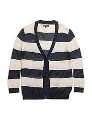 AME FLUFFY STRIPE CARDIGAN - BLUE