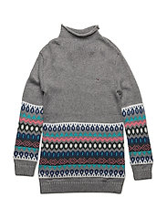 FAIRISLE SWEATER DRESS L/S - GREY