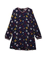 VINTAGE FLORAL PRINTED DRESS L/S - BLACK IRIS/MULTI