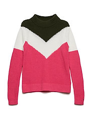 CHEVRON COLOR BLOCK SWEATER - PINK FLAMBE/MULTI