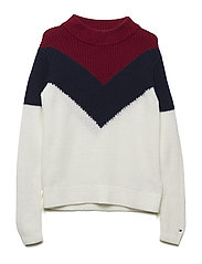 CHEVRON COLOR BLOCK SWEATER - SNOW WHITE/MULTI