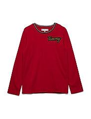 ESSENTIAL TOMMY BADGE KNIT L/S - TRUE RED
