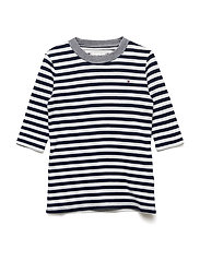 DOUBLE FACE STRIPE T - BLACK IRIS/BRIGHT WHITE
