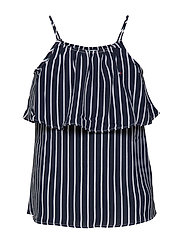 GIRLS FINE STRIPE TOP SLVLS - BLACK IRIS