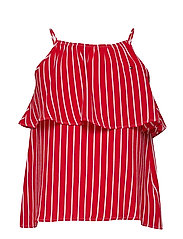 GIRLS FINE STRIPE TOP SLVLS - TRUE RED