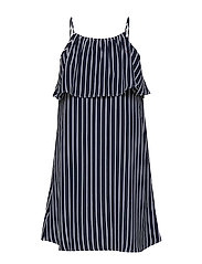 GIRLS FINE STRIPE DRESS SLVLS - BLACK IRIS