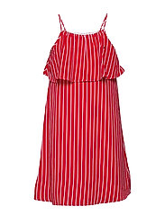 GIRLS FINE STRIPE DRESS SLVLS - TRUE RED