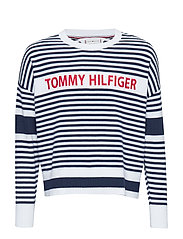 ICONIC TOMMY STRIPE SWEATER - BRIGHT WHITE