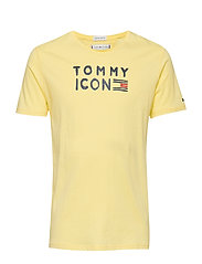 TOMMY FLAG ICON S/S TEE GLITTER - LEMONADE