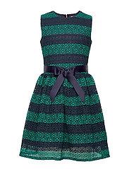 LACE STRIPE DRESS SL - ECLIPSE/IVY