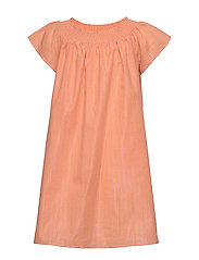LUREX STRIPE DRESS S/S - MELON ORANGE
