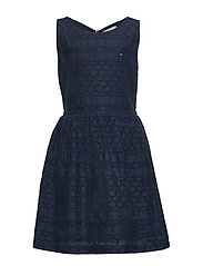 BRODERIE ANGLAISE DRESS SLVLS - TWILIGHT NAVY