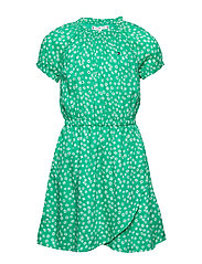 DITSY FLOWER WRAP DRESS S/S - COSMIC GREEN/ DITSY FLOWER