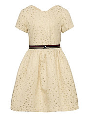 STAR JACQUARD DRESS S/S - IVORY PETAL/ STAR ALLOVER