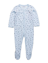 VELOURS BABY COVERALL L/S - BLUE