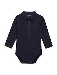 BABY BOY POPLIN COLLAR BODY - BLACK IRIS