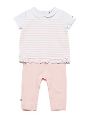 BABY COMBI STRIPE CO - STRAWBERRY CREAM/BRIGHT WHITE