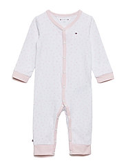 BABY PREPPY COVERALL - STRAWBERRY CREAM/BRIGHT WHITE