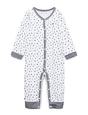 BABY PREPPY COVERALL - BLACK IRIS/BRIGHT WHITE