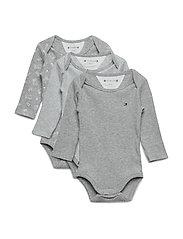 Baby Body Rib 3 Pack Långärmad Body Grå TOMMY HILFIGER