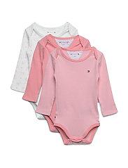 Baby Body Rib 3 Pack Långärmad Body Rosa TOMMY HILFIGER