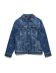 UNISEX DENIM JACKET - MID BLUE STAR STRETCH