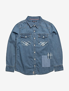 D PATCH DENIM SHIRT L/S - shirts - blue
