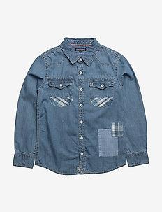 D PATCH DENIM SHIRT L/S - skjorter - blue