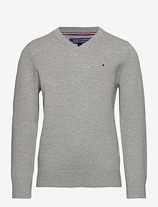 BOYS BASIC V-NECK SWEATER - sweatshirts - grey heather