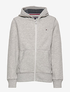 BOYS BASIC ZIP HOODI - GREY HEATHER